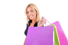 Isolated Casual Girl. Isolated Young Casual Girl With Shopping Bag Royalty Free Stock Image