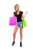 Isolated Casual Girl. Isolated Young Casual Girl With Shopping Bag Royalty Free Stock Photography