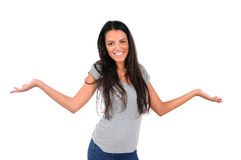 Isolated casual woman Royalty Free Stock Images