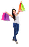 Isolated casual woman. Isolated young casual woman happy Stock Images