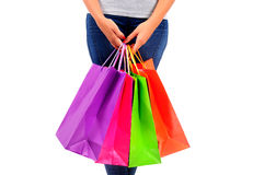 Isolated casual woman Stock Images