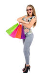 Isolated casual woman Royalty Free Stock Photography