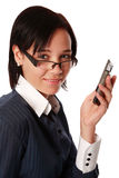 Isolated caucasian business woman with cell phone Stock Image