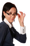 Isolated caucasian business woman with spectacles Royalty Free Stock Photography