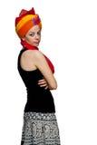 indian wedding turban and caucasian girl isolated  Stock Image