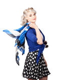 Isolated caucasian woman with pinup fashion style Royalty Free Stock Photography