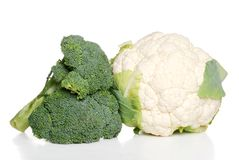 Isolated cauliflower and broccoli Stock Photography