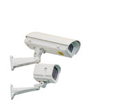 Isolated CCTV camera and infrared lamp Stock Photo