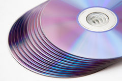 Isolated cd or dvd pile.  Royalty Free Stock Photography