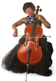 Isolated Cello Player. Pretty woman performing with a cello over white background royalty free stock photo