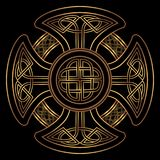 Vector celtic cross. Isolated Celtic cross from national Scandinavian ornament. Symbol of Druids, Ireland and Scotland. Golden vector sign on a black background Stock Image