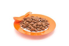 Isolated cereal on orange dish Royalty Free Stock Photo