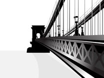 Isolated chain bridge silhouette. 