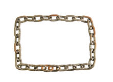 Isolated chain frame. Continuous old worn chain frame isolated on white royalty free stock photos