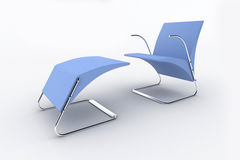 Isolated chaise lounge against white background Stock Photos