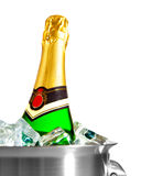 Isolated champagne bottle in ice Stock Photos