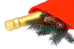Isolated champagne gift Stock Images