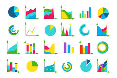 Isolated charts vector icons set Stock Images
