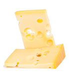 Isolated cheese chunk. On white background royalty free stock photography