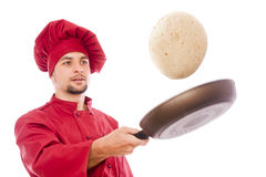 Isolated chef preparing corn pancake Royalty Free Stock Photography