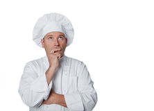 Beautiful chef isolated on white background Royalty Free Stock Photography