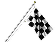 Isolated Chequered Flag. Detailed 3d rendering of the Chequered flag hanging on a flag pole isolated on a white background. Flag has a fabric texture and a royalty free illustration