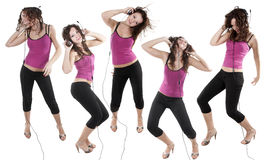 Isolated cherfull young dancing lady Stock Images
