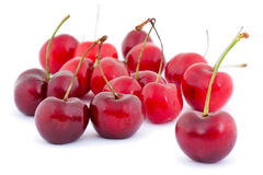 Isolated cherries. Against a white background with a soft shadow Stock Photos