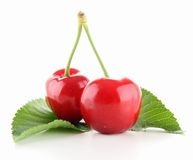 Isolated cherries. And leaf on white Royalty Free Stock Images