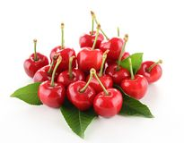 Isolated cherries. On white background Stock Photo