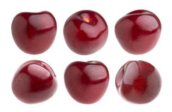 Isolated cherry. Collection of cherries isolated on white background. With clipping path Stock Photos
