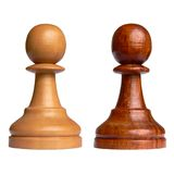 Isolated chess pawn. Of each camp Royalty Free Stock Photo
