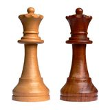 Isolated chess queen. Of each camp Royalty Free Stock Photo
