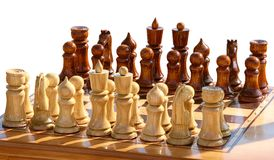 Isolated  chessset figurines on playing board Royalty Free Stock Photos