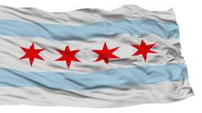 Isolated Chicago City Flag, United States of America. Isolated Chicago City Flag, City of Illinois State, Waving on White Background, High Resolution Stock Photos