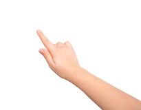Isolated child hand touching or pointing to something Royalty Free Stock Images