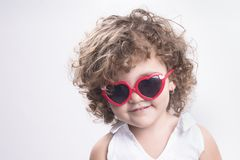 Isolated child with sun glasses Stock Photos