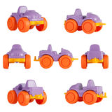 Isolated children toy car. different angles.  stock images