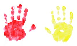 Isolated childs handprint royalty free stock photo