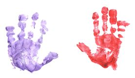 Isolated childs handprint Stock Images