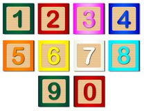 Isolated Childs Number Blocks. Wooden blocks with numbers 1 to 0 vector illustration