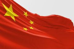 Isolated China Flag waving 3d Realistic China Flag Rendered. Isolated China Flag waving 3d Realistic China Flag with white background stock illustration