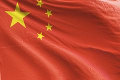 Isolated China Flag waving 3d Realistic China Flag Rendered stock image