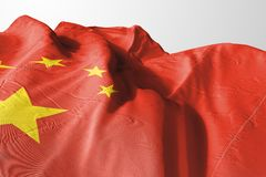 Isolated China Flag waving 3d Realistic China Flag Rendered stock photo