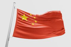 Isolated China Flag waving 3d Realistic China Flag Rendered royalty free illustration