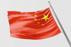 Isolated China Flag waving 3d Realistic China Flag Rendered stock illustration