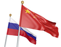 Isolated China and Russia flags flying together for diplomatic talks and trade relations, 3D rendering. National flags from China and Russia flying side by side Royalty Free Stock Photo