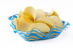 Isolated chips. Сhips in a blue bowl Royalty Free Stock Images