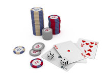 Isolated chips and cards for casino games. Cards casino chance chips for gamble vector illustration