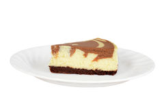 Isolated chocolate cheesecake on a plate Stock Photos